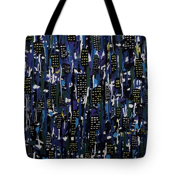 Tote Bag featuring the painting Stormy Night In The City by Teresa Wing