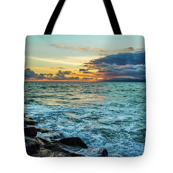 Tote Bag featuring the photograph Stormy Ocean Sunset by April Reppucci