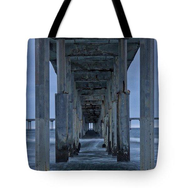Stormy Pier In Ocean Beach Tote Bag