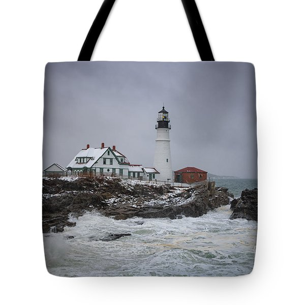 Stormy Portland Head Light Tote Bag