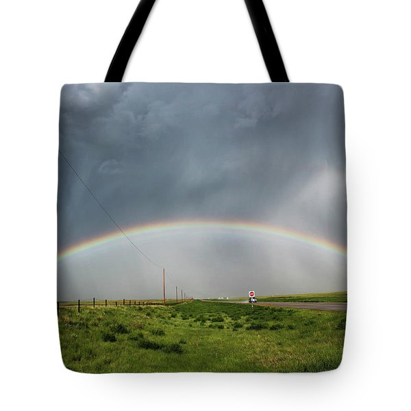 Stormy Rainbow Tote Bag by Ryan Crouse