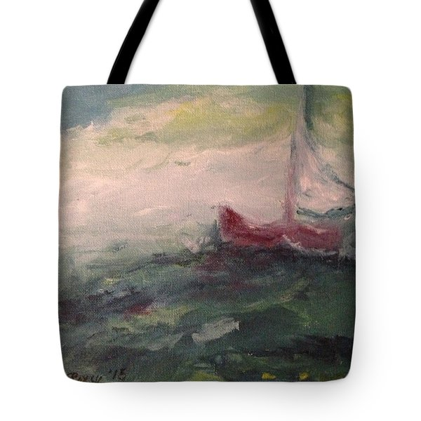 Stormy Sailboat Tote Bag