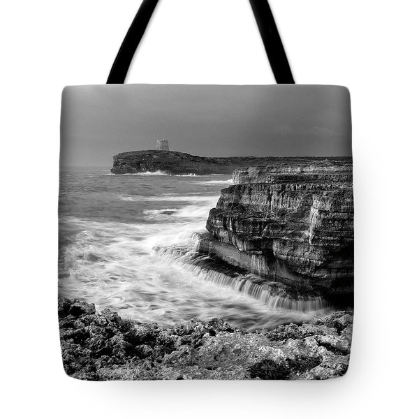 Tote Bag featuring the photograph stormy sea - Slow waves in a rocky coast black and white photo by pedro cardona by Pedro Cardona
