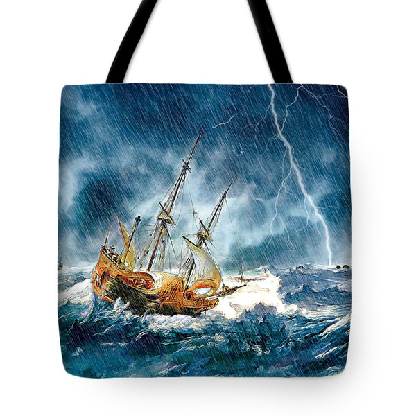 Tote Bag featuring the digital art Stormy Seas by Pennie McCracken