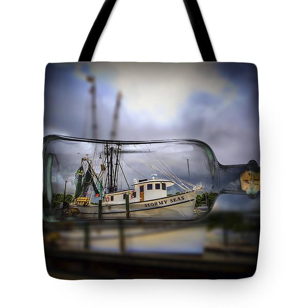Tote Bag featuring the photograph Stormy Seas - Ship In A Bottle by Bill Barber