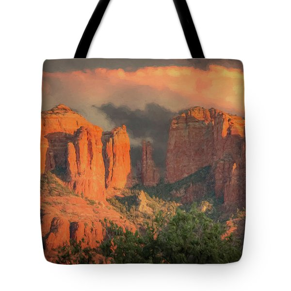 Tote Bag featuring the photograph Stormy Sedona Sunset by Teresa Wilson