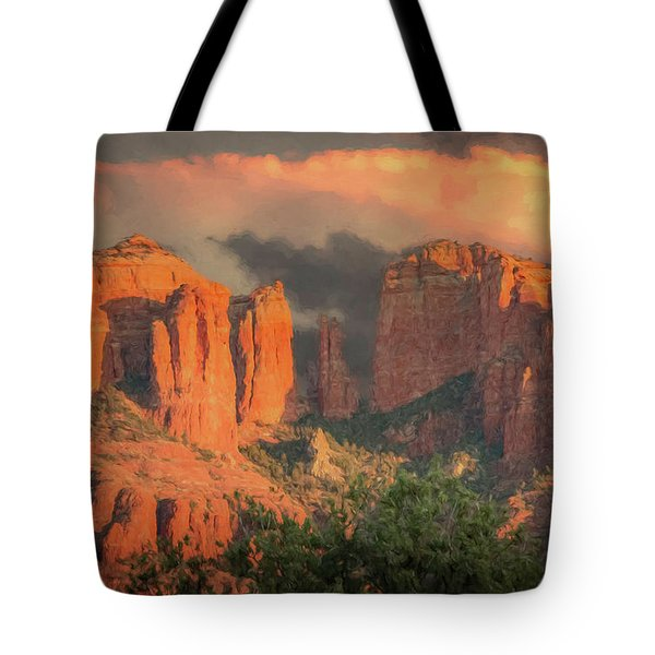Stormy Sedona Sunset Tote Bag