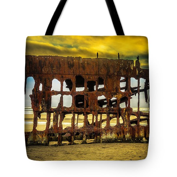Stormy Shipwreck Tote Bag by Garry Gay