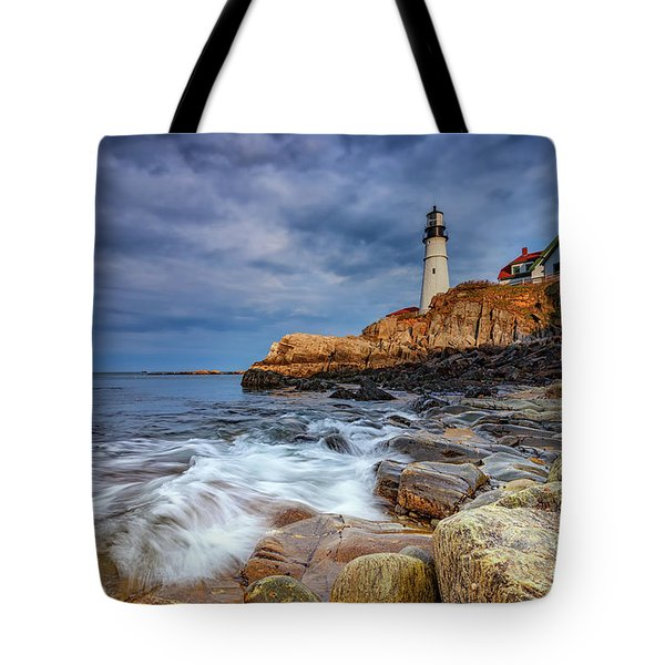 Stormy Skies At Portland Head Tote Bag