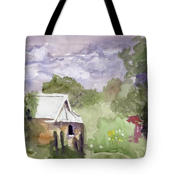 Stormy Sky In The Creek Tote Bag