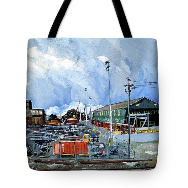 Stormy Sky Over Shipyard And Steel Mill Tote Bag by Asha Carolyn Young