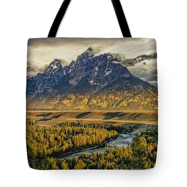 Stormy Sunrise Over The Grand Tetons And Snake River Tote Bag
