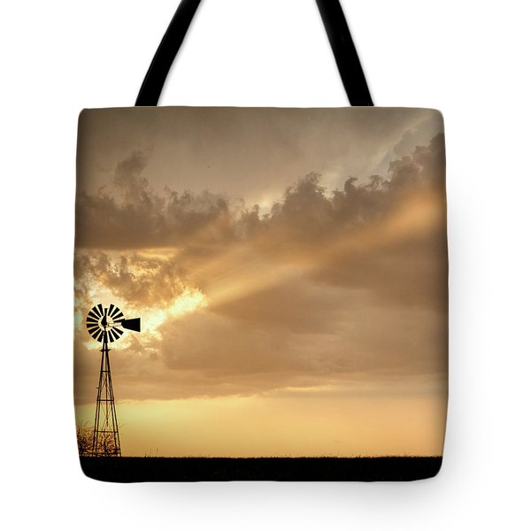 Tote Bag featuring the photograph Stormy Sunset And Windmill 02 by Rob Graham
