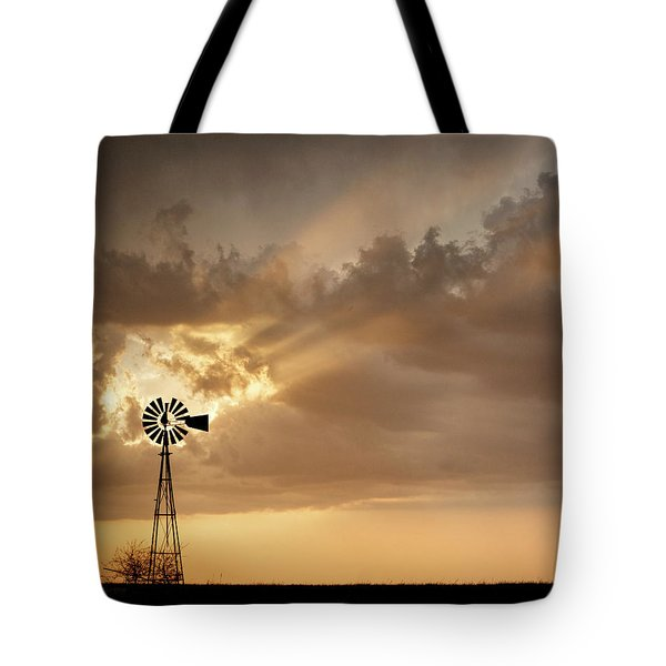 Tote Bag featuring the photograph Stormy Sunset And Windmill 03 by Rob Graham