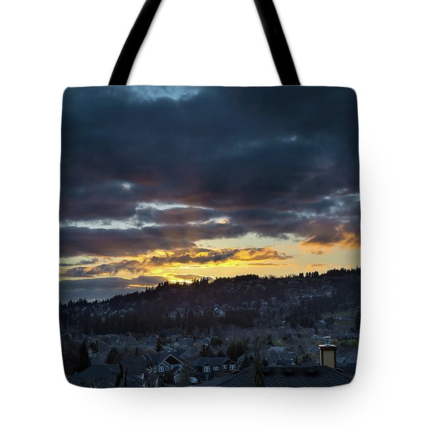 Stormy Sunset Over Happy Valley Oregon Tote Bag by David Gn
