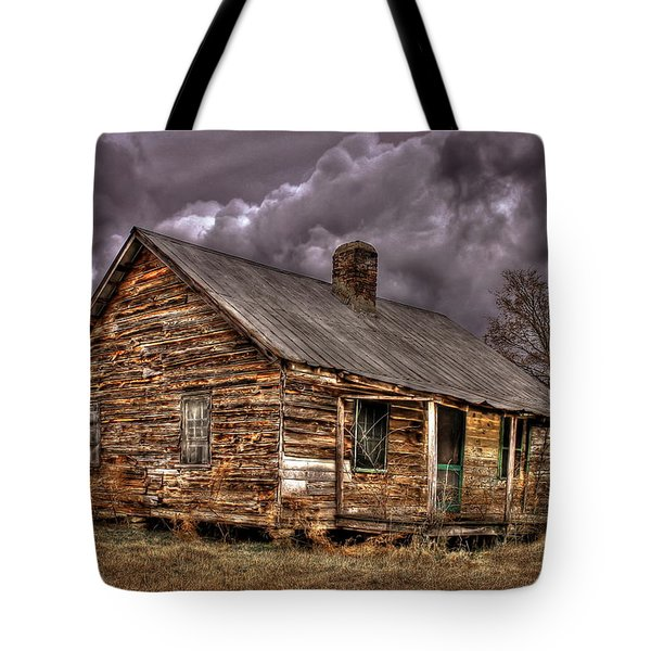 Tote Bag featuring the photograph Stormy Times Tenant House Greene County Georgia Art by Reid Callaway
