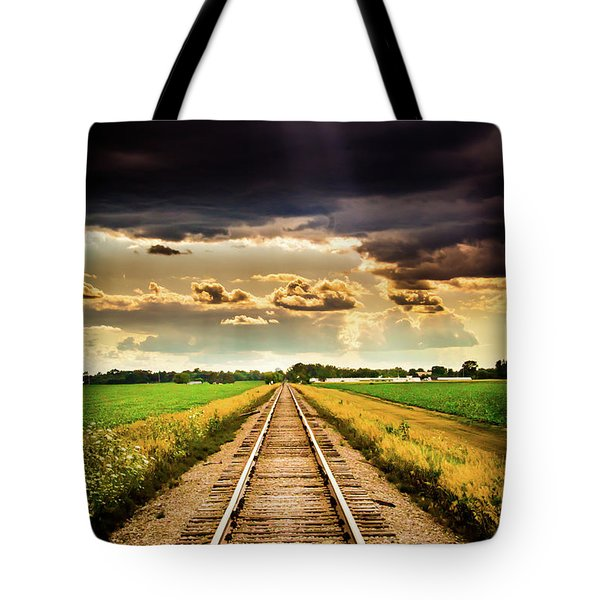 Stormy Tracks Tote Bag
