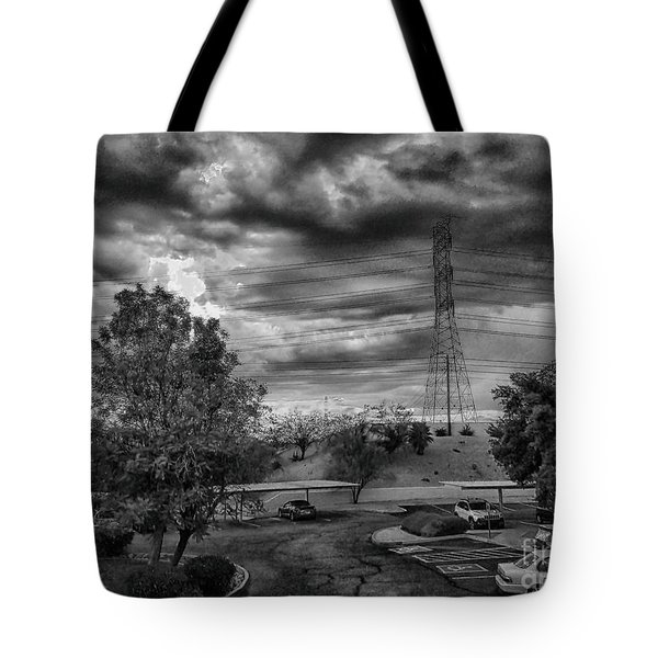 Tote Bag featuring the photograph Stormy Weather In Black And White by Anne Rodkin