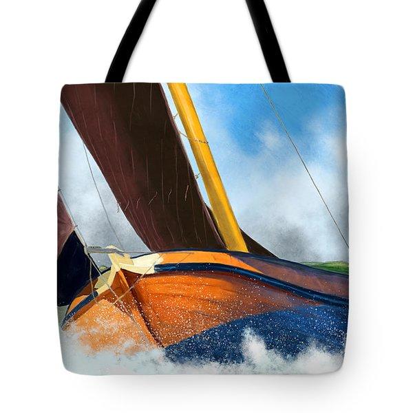 Stormy Weather Skutsje Sailing Ship Tote Bag