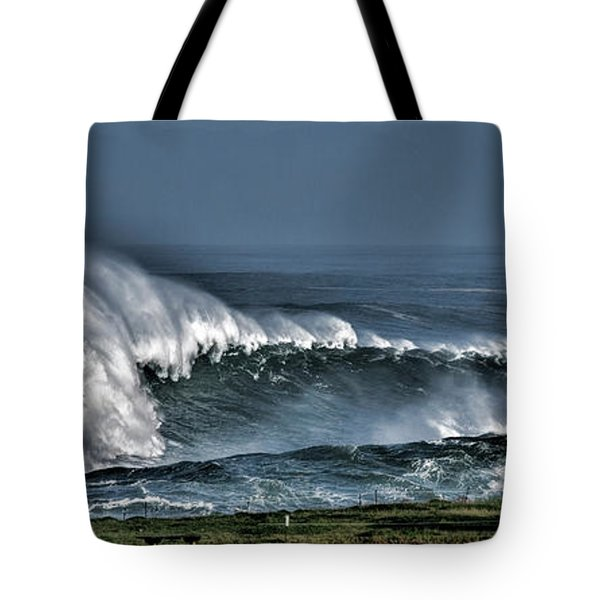 Stormy Winter Waves Tote Bag