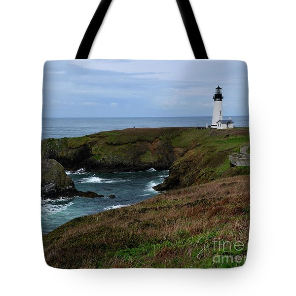 Stormy Yaquina Head Lighthouse Tote Bag