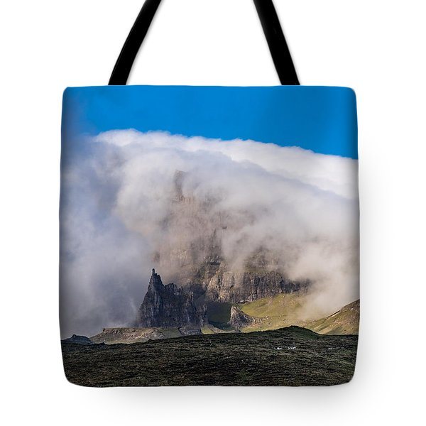 Tote Bag featuring the photograph Storr In Cloud by Gary Eason