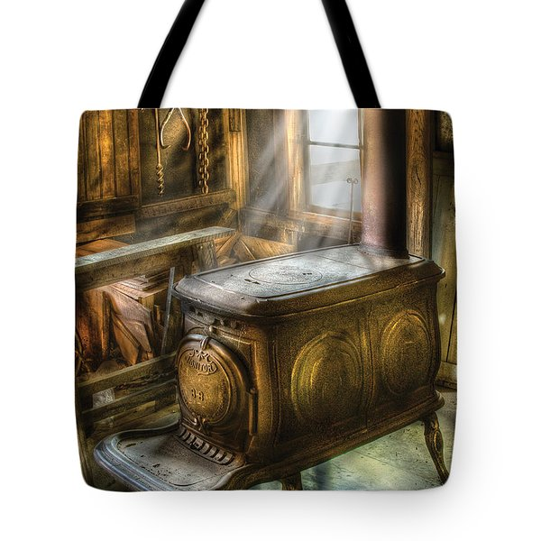 Stove - A Warm Cozy Stove Tote Bag by Mike Savad