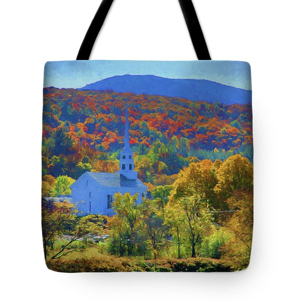 Tote Bag featuring the photograph Stowe Vermont Church In Fall by Jeff Folger