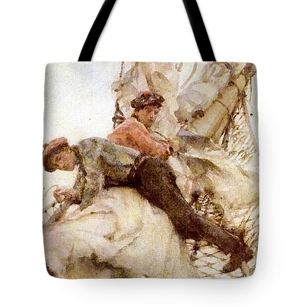Tote Bag featuring the painting Stowing The Headsails  by Henry Scott Tuke