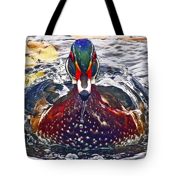 Straight Ahead Wood Duck Tote Bag