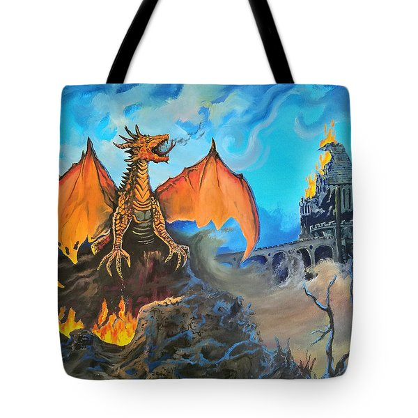 Tote Bag featuring the painting Straight To The Casttttle by Kevin F Heuman