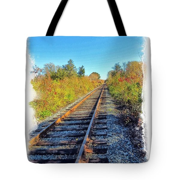 Tote Bag featuring the photograph Straight Track by Constantine Gregory