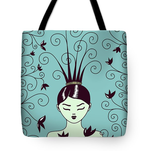 Strange Hairstyle And Flowery Swirls Tote Bag