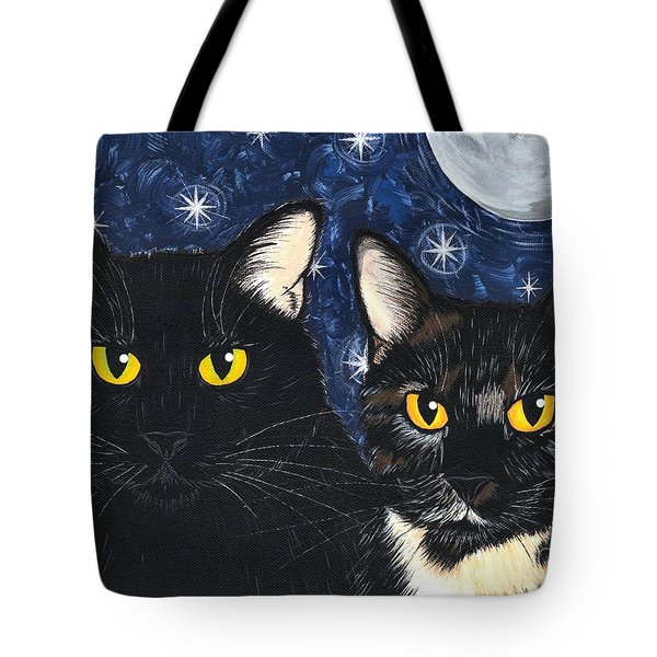 Tote Bag featuring the painting Strangeling's Felines - Black Cat Tortie Cat by Carrie Hawks
