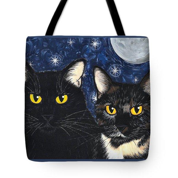 Strangeling's Felines - Black Cat Tortie Cat Tote Bag