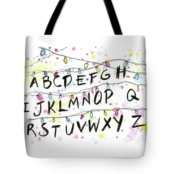 Stranger Things Alphabet Wall Christmas Lights Tote Bag