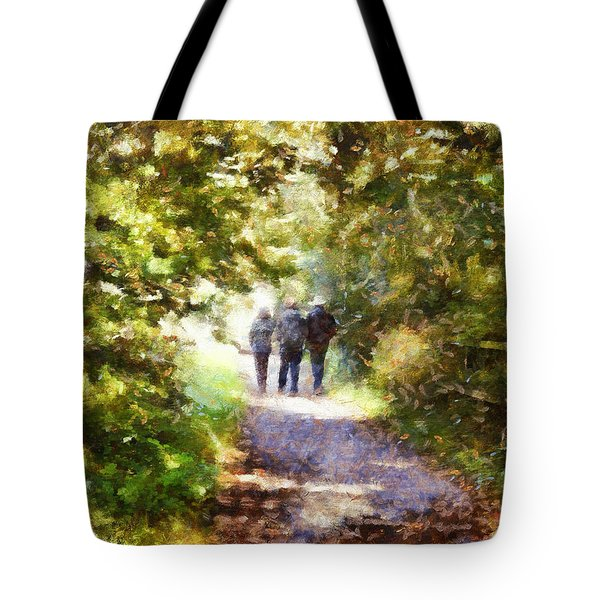 Strangers On A Footpath / In To The Light Tote Bag