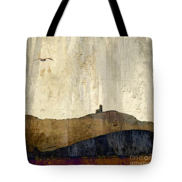 Strata With Lighthouse And Gull Tote Bag