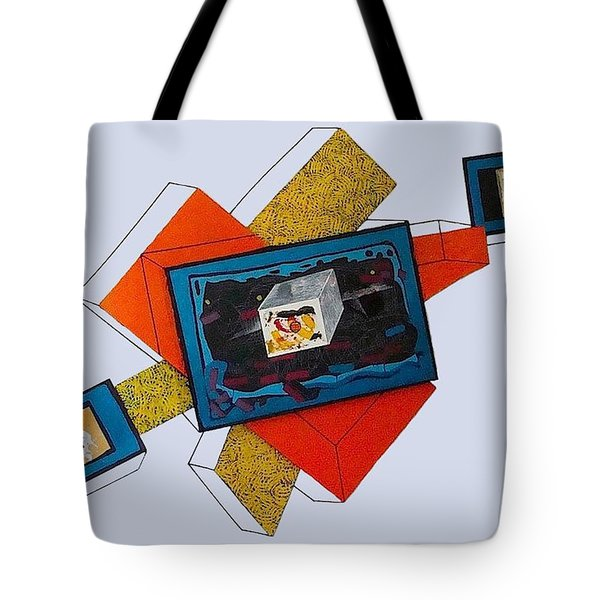 Stratified Tryptych Relief 2 Tote Bag by Al Goldfarb