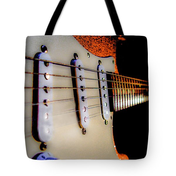 Stratocaster Pop Art Tangerine Sparkle Fire Neck Series Tote Bag