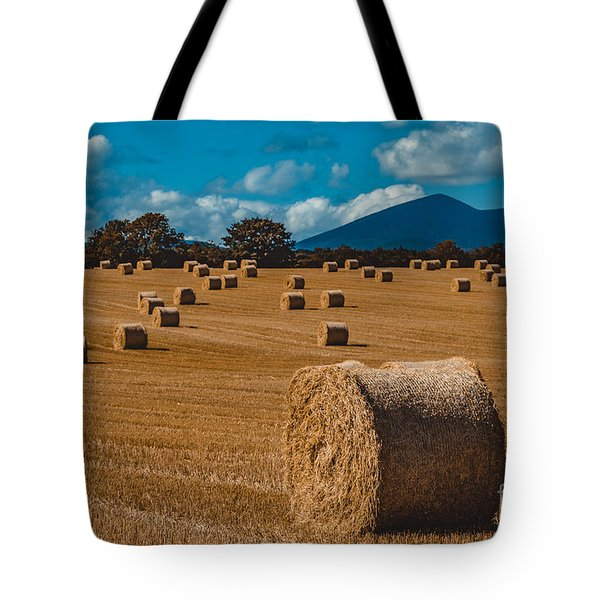 Straw Bale In A Field Tote Bag