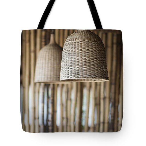Straw Lampshade And Bamboo Interior Design Tote Bag