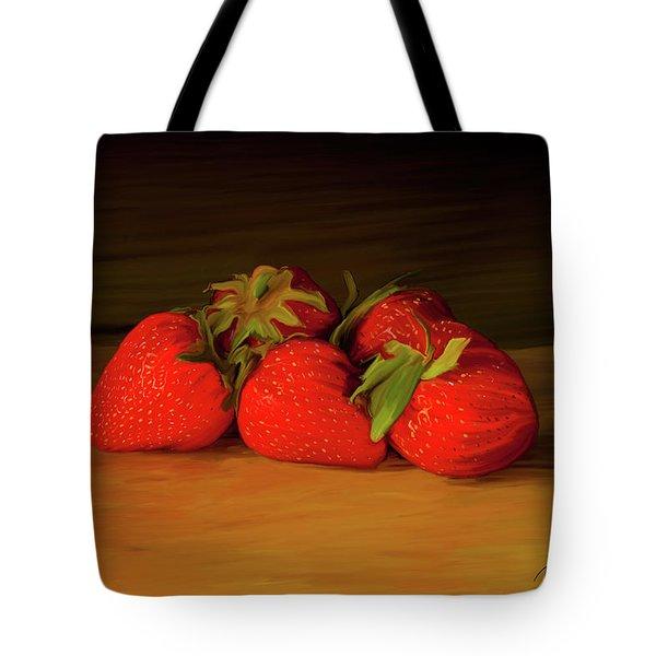 Strawberries 01 Tote Bag by Wally Hampton