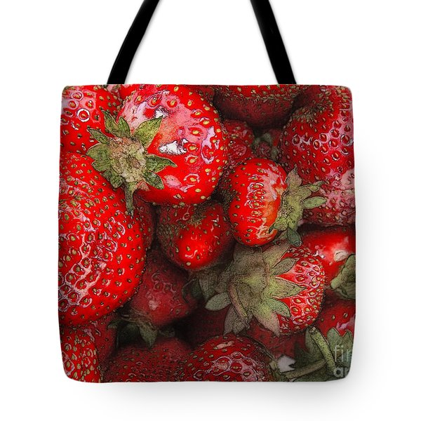 Tote Bag featuring the digital art Strawberries by David Blank