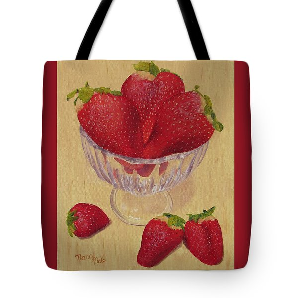 Tote Bag featuring the painting Strawberries In Crystal Dish by Nancy Nale