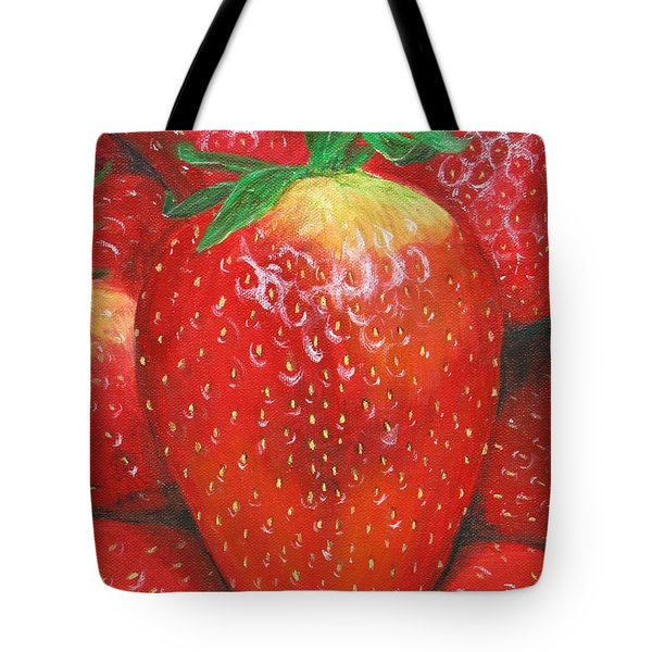 Tote Bag featuring the painting Strawberries by Nancy Nale