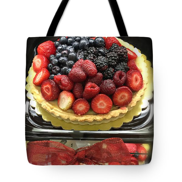 Tote Bag featuring the photograph Strawberries Rasberries Luscious Dessert Fruit Pie With Red Bow  by Kathy Fornal