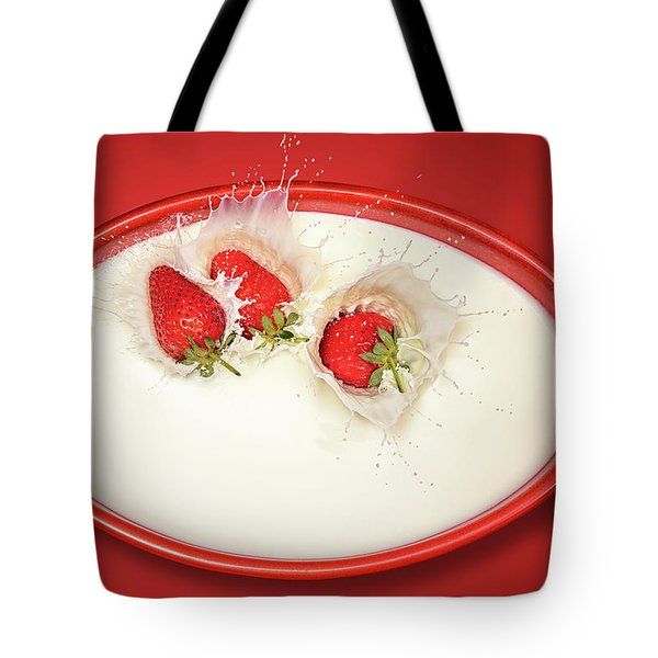 Strawberries Splashing In Milk Tote Bag