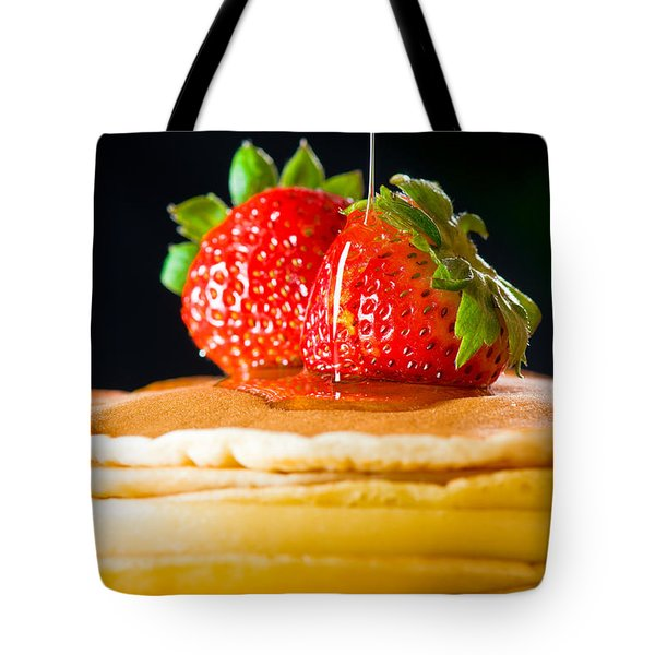 Strawberry Butter Pancake With Honey Maple Sirup Flowing Down Tote Bag by Ulrich Schade