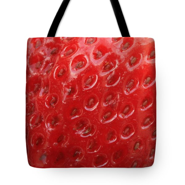Strawberry Closeup Tote Bag by Carol Groenen